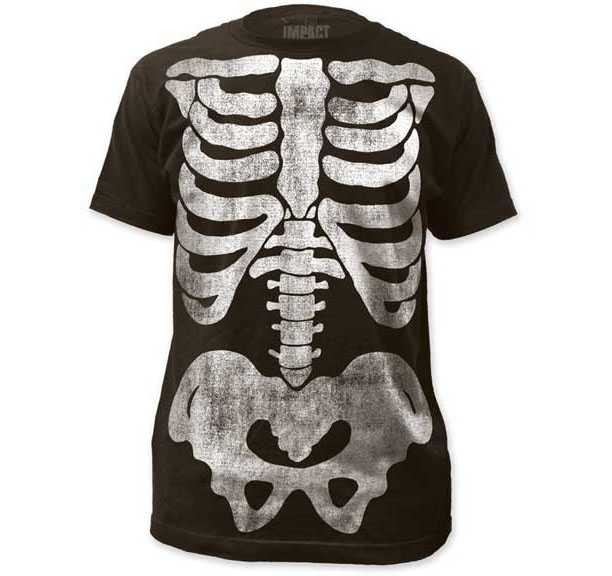 Skeleton (Subway Print) on a charcoal ringspun cotton shirt