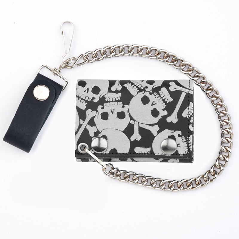 Multiple Skulls (White On Black) wallet (comes with chain!)