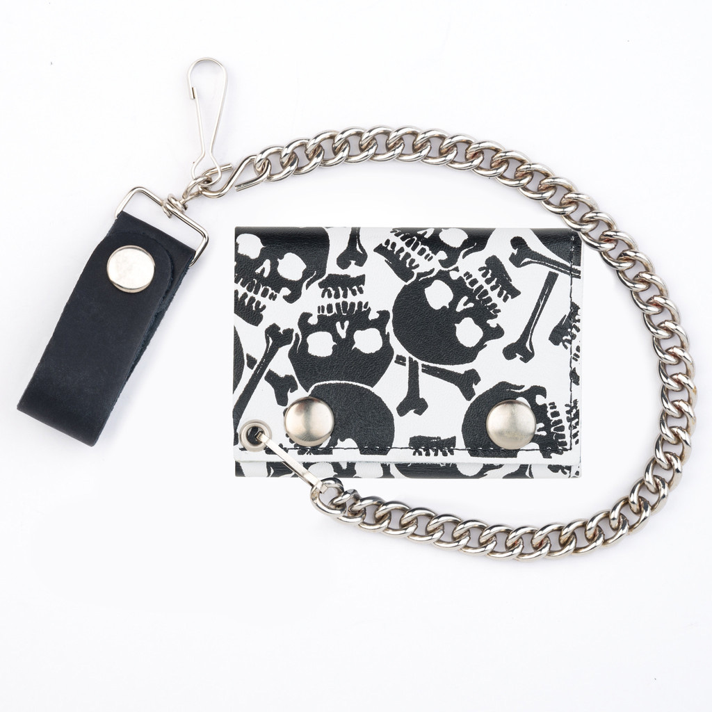 Multiple Skulls (Black On White) wallet (comes with chain!)