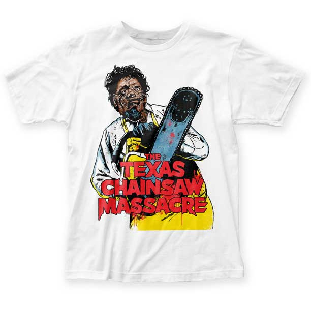 Texas Chainsaw Massacre- Leatherface Illustration on a white ringspun cotton shirt