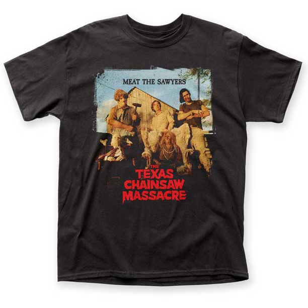 Texas Chainsaw Massacre- Meat The Sawyers on a black shirt