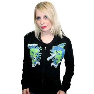 Drop Dead on a black zip up girls hooded sweatshirt by Too Fast Clothing (Sale price!) sz M only