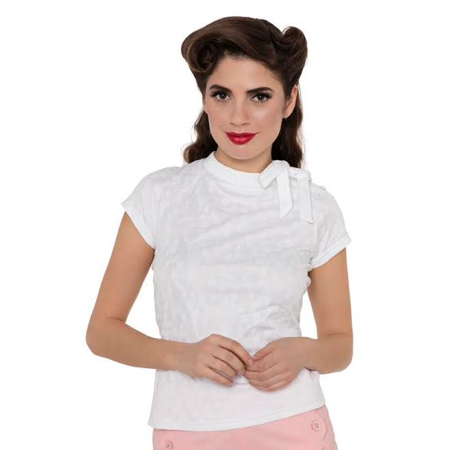 Ashlea White Cherry Flocked Knit Retro 50's Top by Voodoo Vixen  - SALE sz M only