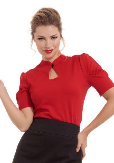 Dita Teese Keyhole Top by Voodoo Vixen - in red - SALE sz L only