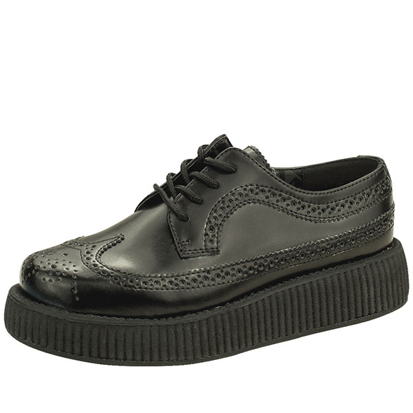 Black Leather Wingtip Lo Sole Viva Creeper by Tred Air UK