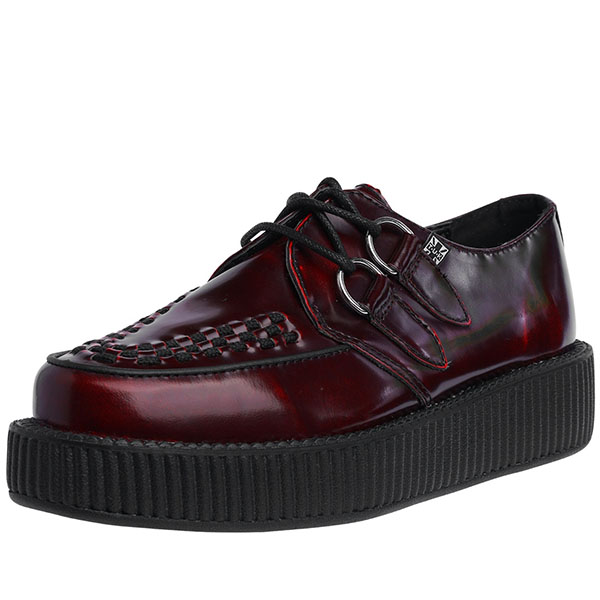 Burgundy Rub Off Leather Lo Sole Viva Creeper by Tred Air UK