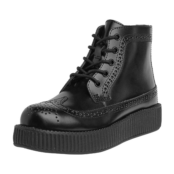 Black Leather Wingtip Creeper Boots by Tred Air UK