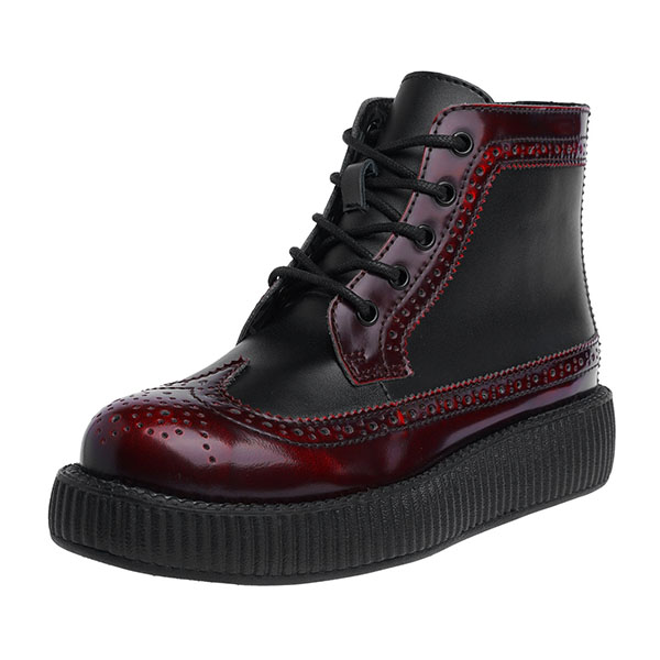 Burgundy Rub Off Leather Wingtip Creeper Boots by Tred Air UK