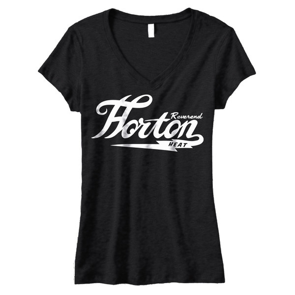 Reverend Horton Heat- Logo on a black girls fitted V-Neck shirt