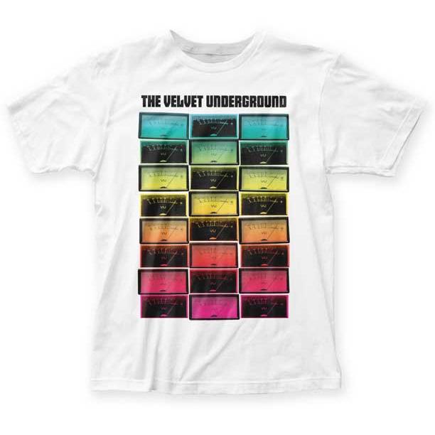 Velvet Underground- Meters on a white ringspun cotton shirt
