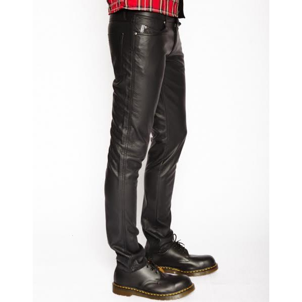 Black Skinny Pleather Guys Pants by Tripp NYC in Black