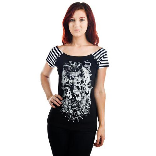 Bolivar Button Tee by Too Fast Clothing - Lucky 13 Zombie - SALE sz M only