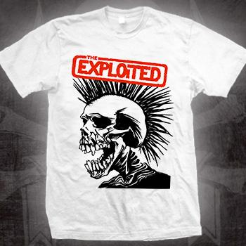 Exploited- Skull on a white shirt (Sale price!)
