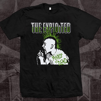 Exploited- Punk's Not Dead (Wattie) on a black shirt (Sale price!)
