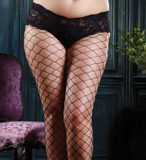 Plus Size Diamond Net Fishnets with attached Boy Short by Leg Avenue