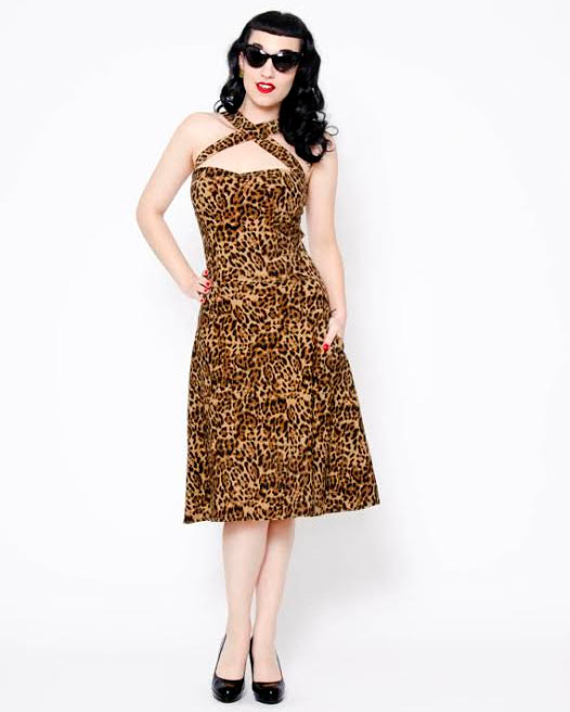 Leopard Vavavoom Flared Dress by Putre-Fashion - SALE sz L only