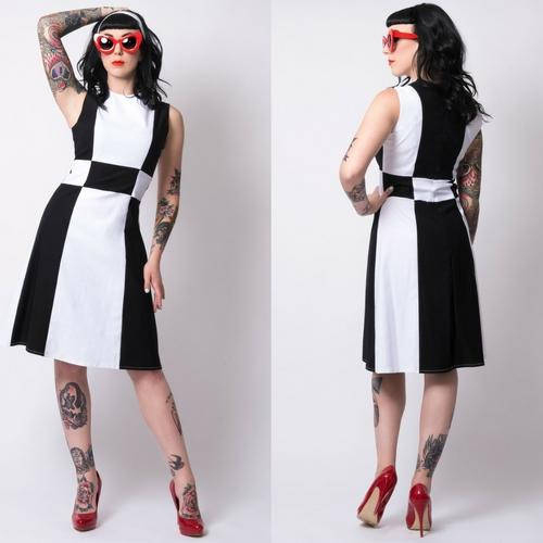 Mod Black & White Retro Dress by Putre-Fashion - SALE sz L & XL only