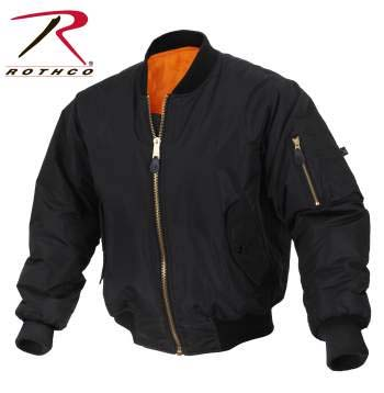 MA-1 Enhanced Flight Jacket by Rothco- BLACK (Higher Quality)