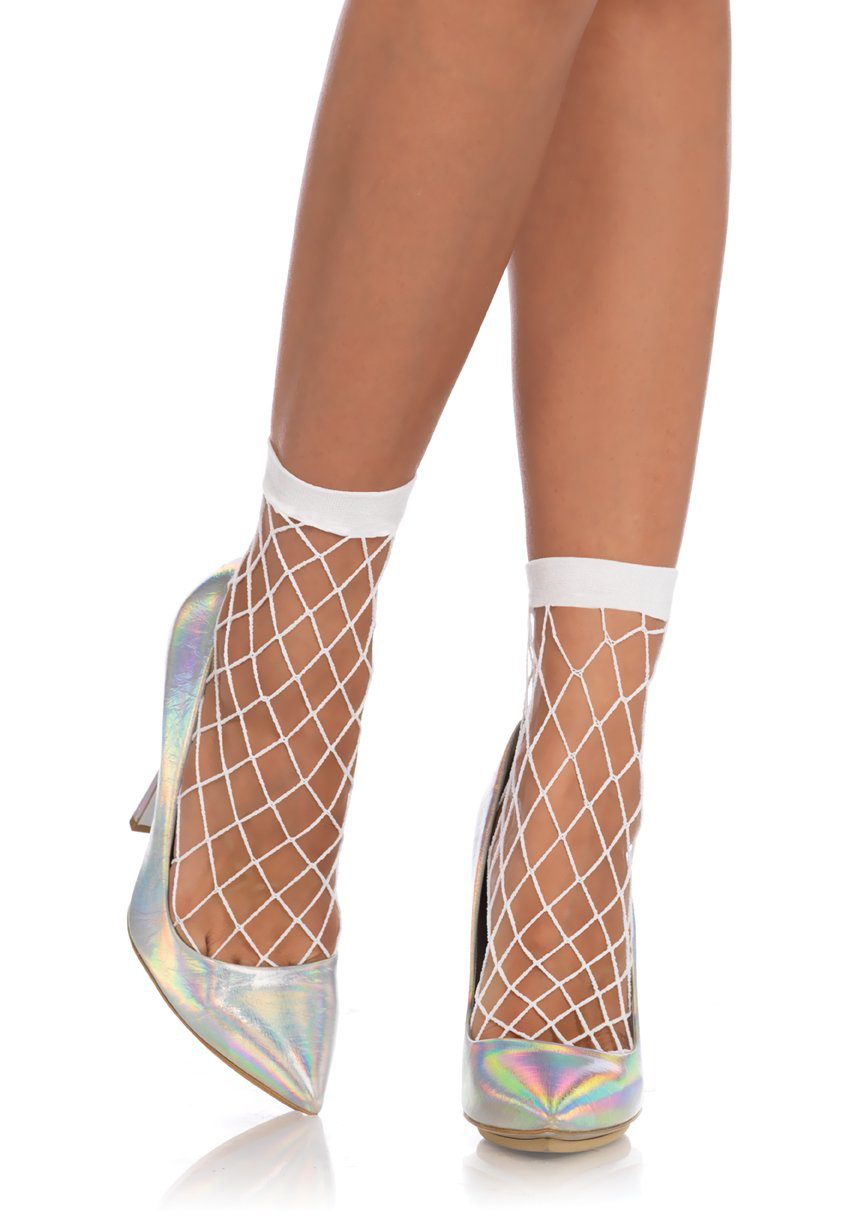 Diamond Net Anklet Socks  - in white