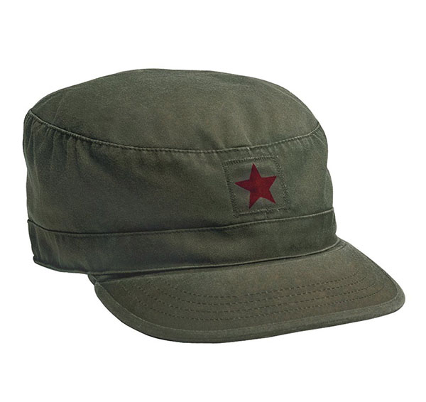 Fatigue Cap by Rothco- OLIVE WITH RED STAR