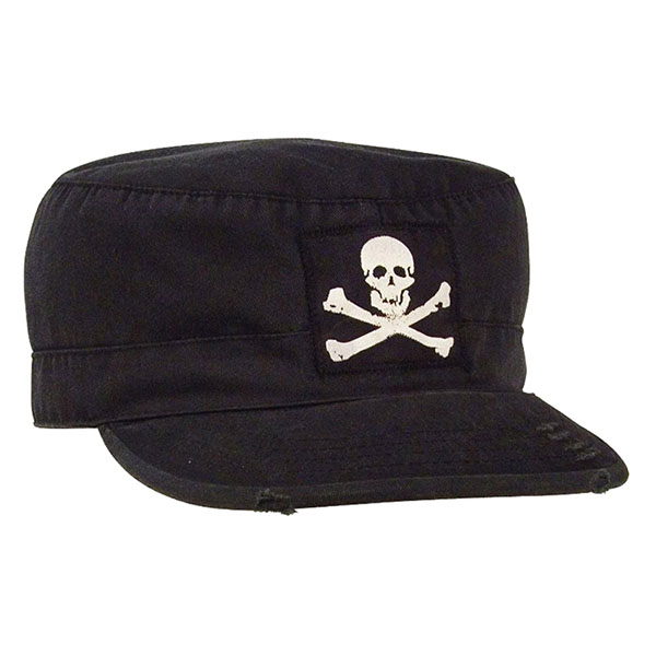 Fatigue Cap by Rothco- Black With Skull & Bones