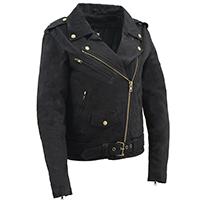 AYP Ladies Motorcycle Jacket- Black Denim