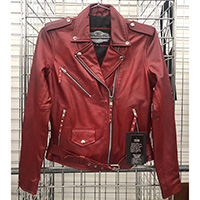 Derringer Lambskin Womens Motorcycle Jacket- Vintage Red