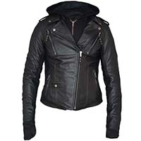 Derringer Lambskin Womens Hooded Motorcycle Jacket