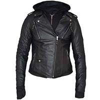 Derringer Lambskin Womens Hooded Motorcycle Jacket