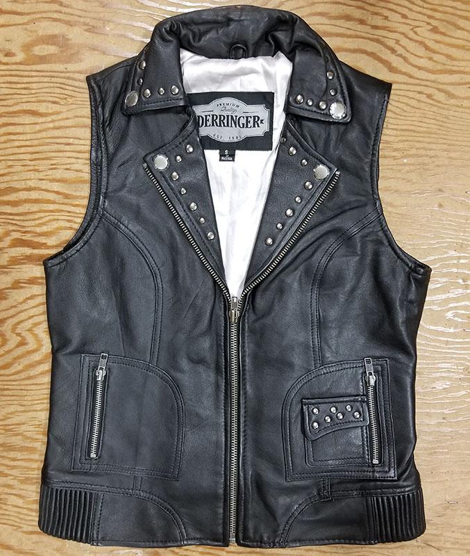 Derringer Lambskin Studded Womens Motorcycle Vest