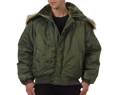 N-2B Hooded Flight Jacket by Rothco- SAGE GREEN