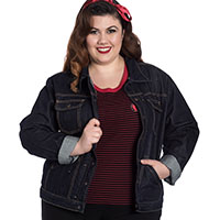 Indiana Indigo Denim Jacket by Hell Bunny - Plus Size