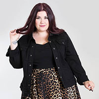Indiana Black Denim Jacket by Hell Bunny - Plus Size