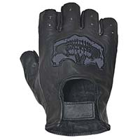 Black Leather Fingerless Gloves With Skull by Unik Leather