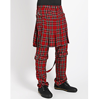 Red Plaid Tartan Double Bumflap Bondage Pants by Tripp NYC - Unisex