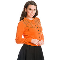 Under Her Web Spell Cardigan by Banned Apparel - in Orange