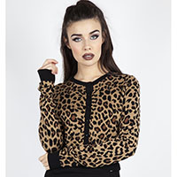 Natural Leopard Cropped Cardigan by Jawbreaker