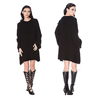 Black Magma Over-sized Sweater Dress by Banned Apparel