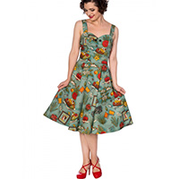 Summer Moon Frida Print Vintage Style Dress by Banned Apparel