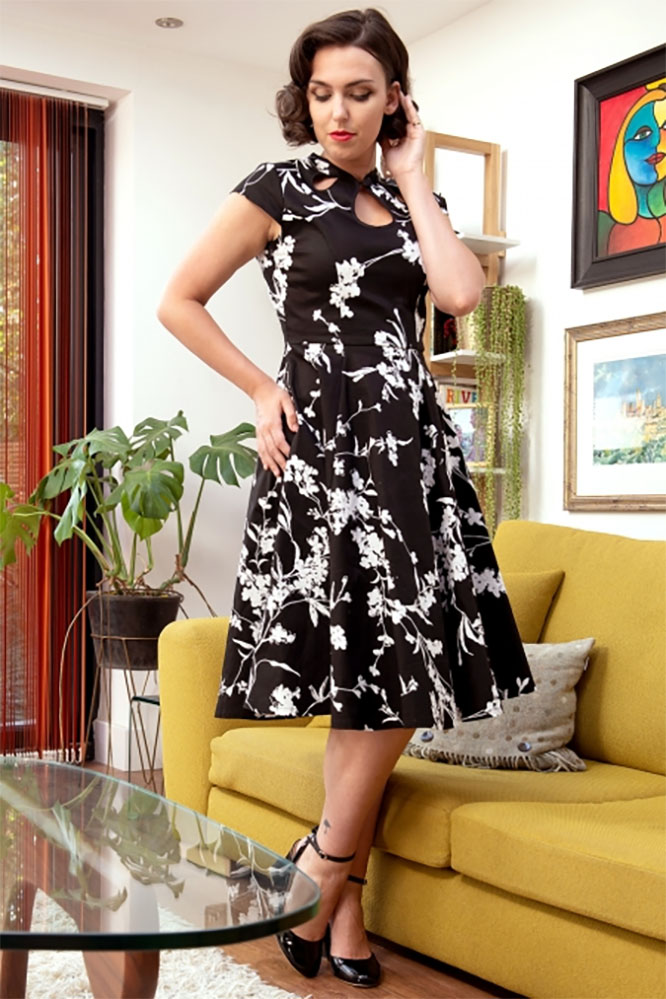 Audreys Fit Amp Flare Retro Floral Dress By Banned Apparel