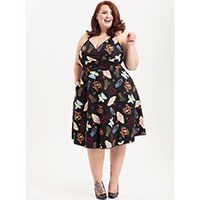 Lucy Vegas Print Flare Plus Size Dress by Voodoo Vixen
