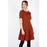 Orange & Black Halloween Striped Knit Marnie Flare Dress by Voodoo Vixen
