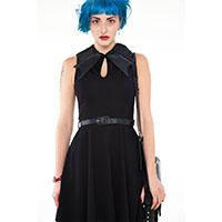 Bat Collar Black Knit Flare Dress by Jawbreaker