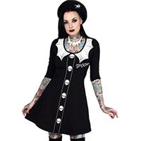 3/4 Sleeve Spooky Girl Flared Skater Dress by Kreepsville 666