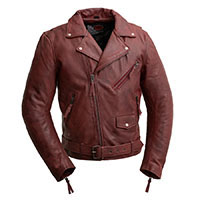 Fillmore Naked Cowhide Premium Motorcycle Jacket (Oxblood) by First MFG