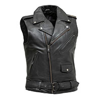 Rockin Leather Cowhide Motorcycle Vest (Black) by First MFG