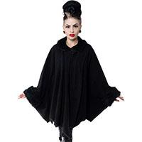 Kreepsville 666 Glamour Ghoul Web Black Fur Batwing Cape - 2X only