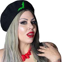 Repeat Bat Beret by Kreepsville 666 - black with green bats