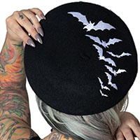 Repeat Bat Beret by Kreepsville 666 - black w white bats