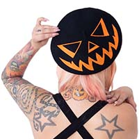 Black Trick or Treat Pumpkin Beret by Kreepsville 666